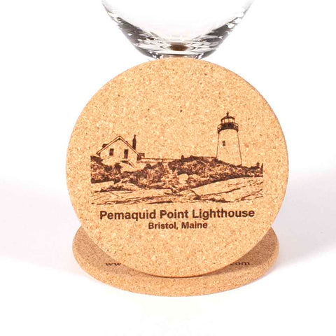 Cork Coaster with image of Pemaquid Point Lighthouse engraved on it - Dailey Woodworking