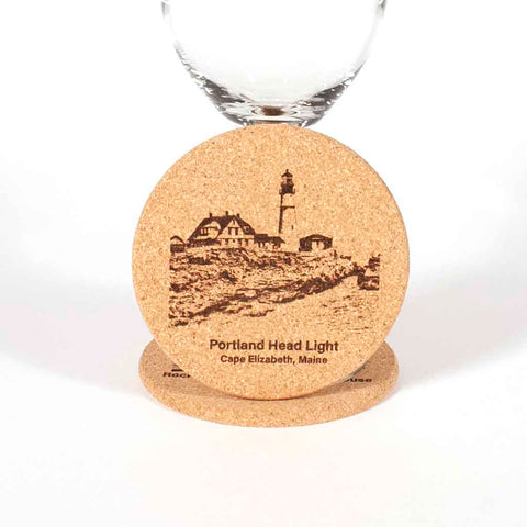 Cork Coaster with image of Portland Head Light engraved on it, close up - Dailey Woodworking