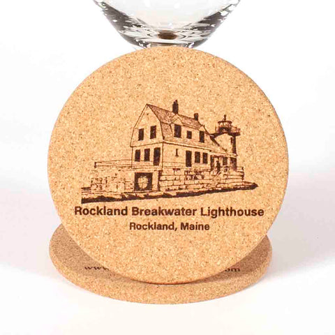 Cork Coaster with image of Rockland Breakwater Lighthouse laser engraved onto it - Dailey Woodworking