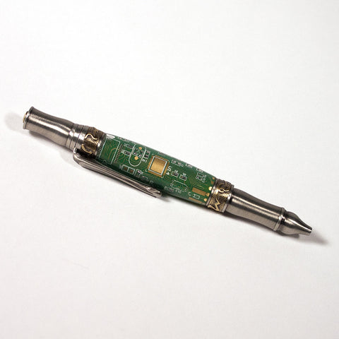 Printed Circuit Board Antique Pewter and Brass Old Port Pen - Dailey Woodworking