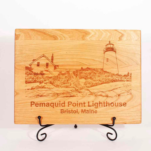 Cherry Cutting Board with image of Pemaquid Point Lighthouse engraved on it - Dailey Woodworking