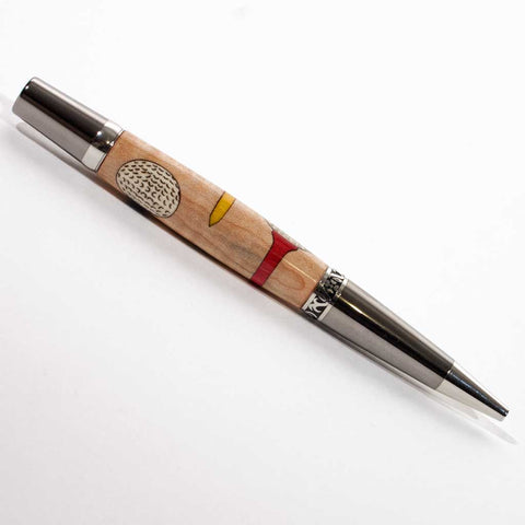 Platinum and Black Titanium Yarmouth Pen with 3 golf balls on dyed golf tees - Dailey Woodworking