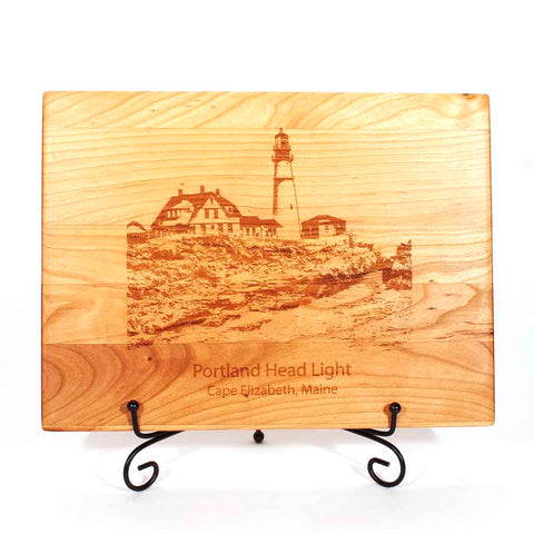 Cherry Cutting Board with image of Portland Head Light engraved on it - Dailey Woodworking