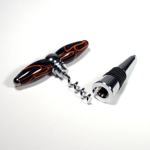 Black with Orange lines Acrylic T-Handle Corkscrew and Bottle Stopper Combination - Dailey Woodworking