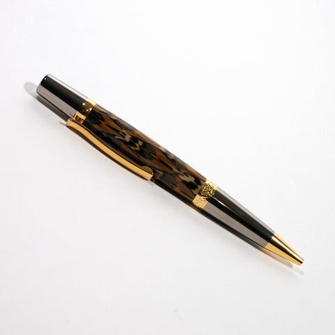Platinum and Gold Yarmouth Ringneck Pheasant Feather Ballpoint Pen - Dailey Woodworking