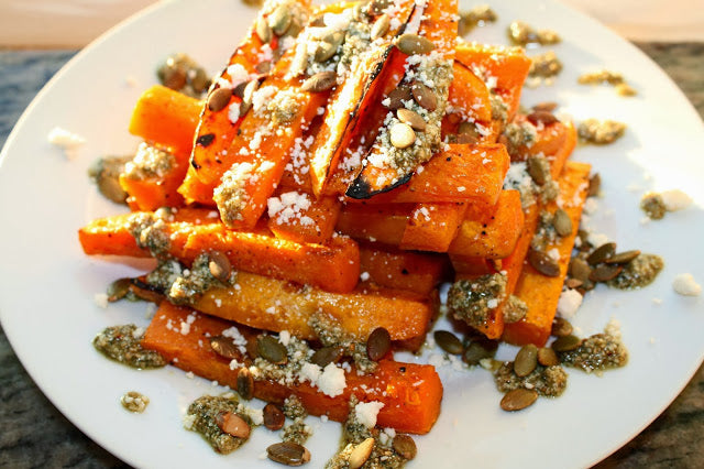 Roasted Butternut Squash Stacks with Sage Pumpkin Seed Pesto