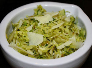 Shaved Brussels Sprouts With Melgarejo Arbequina, Lemon Argumato Olive Oil & Parmesan Cheese