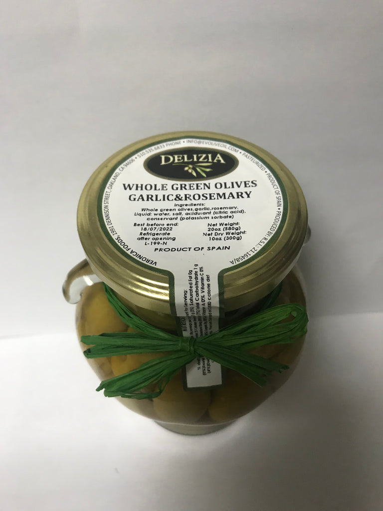 Whole Green Olives Garlic & Rosemary
