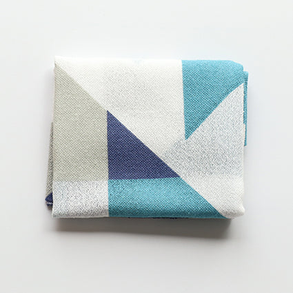 Fuita Cotton Handkerchief |  Geometric Blues - CHERRYSTONE by MARKET TO JAPAN LLC