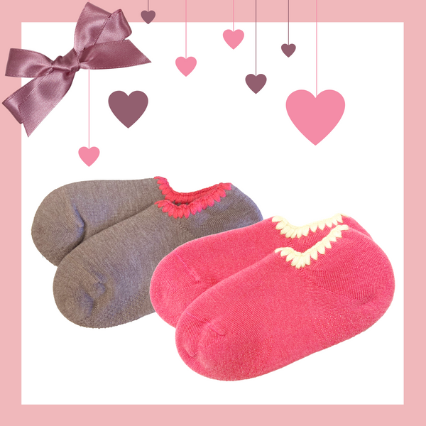 Giftwrapped! CHERRYSTONE® Slipper Socks Set of 2 Pairs | Valentine's Day Gift | 2 Pairs Classic Color with Grips | Mocha and Pink