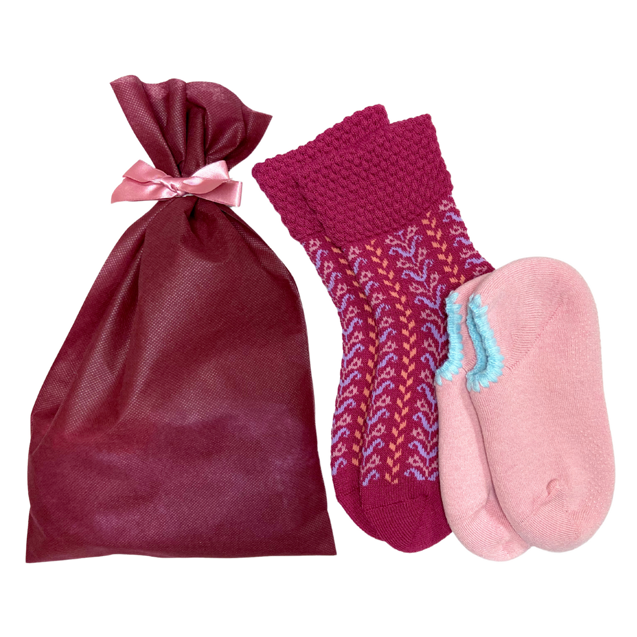 Giftwrapped! CHERRYSTONE® Slipper Sock and Boot Sock Set of 2 Pairs | Valentine's Day Gift | 2 Pairs of Slipper and Boot Socks | Peach and Herringbone Raspberry - CHERRYSTONE