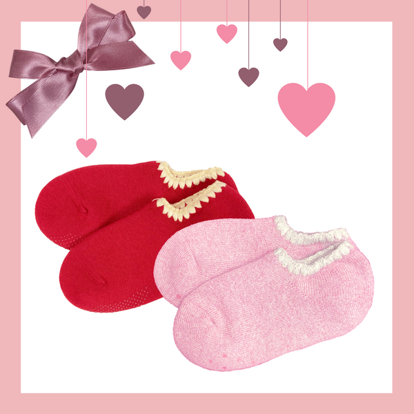 Giftwrapped! CHERRYSTONE® Slipper Socks Set of 2 Pairs | Valentine's Day Gift | Angora and Classic Color with Grips | Powder Pink and Red