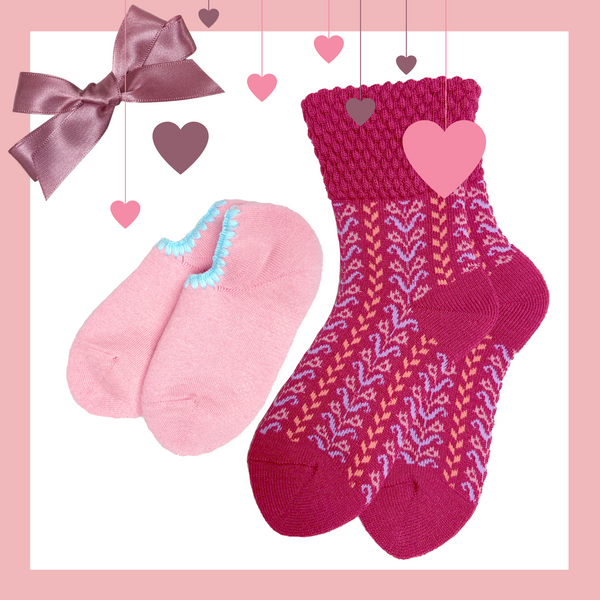 Giftwrapped! CHERRYSTONE® Slipper Sock and Boot Sock Set of 2 Pairs | Valentine's Day Gift | 2 Pairs of Slipper and Boot Socks | Peach and Herringbone Raspberry