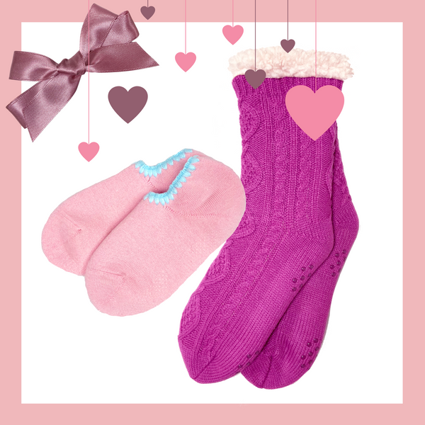 Giftwrapped! CHERRYSTONE® Slipper Sock and Sherpa Lined Cable Knit Slipper Sock Set of 2 Pairs With Grips | Valentine's Day Gift | 2 Pairs of Slipper Socks | Peach and Fuchsia Cable Knit