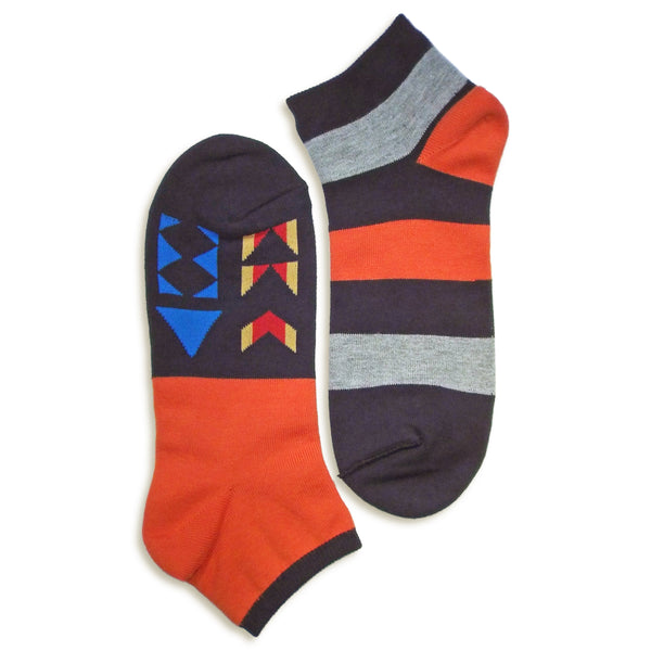 2 in 1 Reversible Socks | Geometric Pattern | Orange - CHERRYSTONE by MARKET TO JAPAN LLC