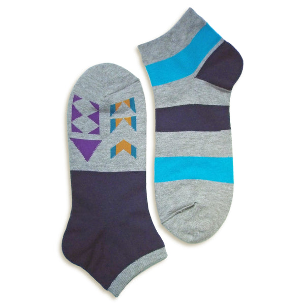 2 in 1 Reversible Socks | Geometric Pattern | Navy - CHERRYSTONE by MARKET TO JAPAN LLC