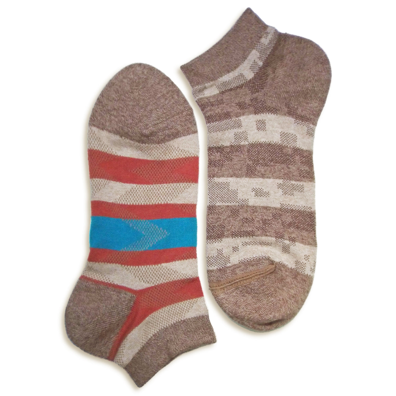 2 in 1 Reversible Socks | Striped Pattern | Brown - CHERRYSTONE