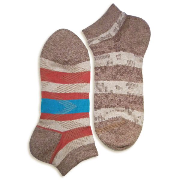 2 in 1 Reversible Socks | Striped Pattern | Brown - CHERRYSTONE by MARKET TO JAPAN LLC