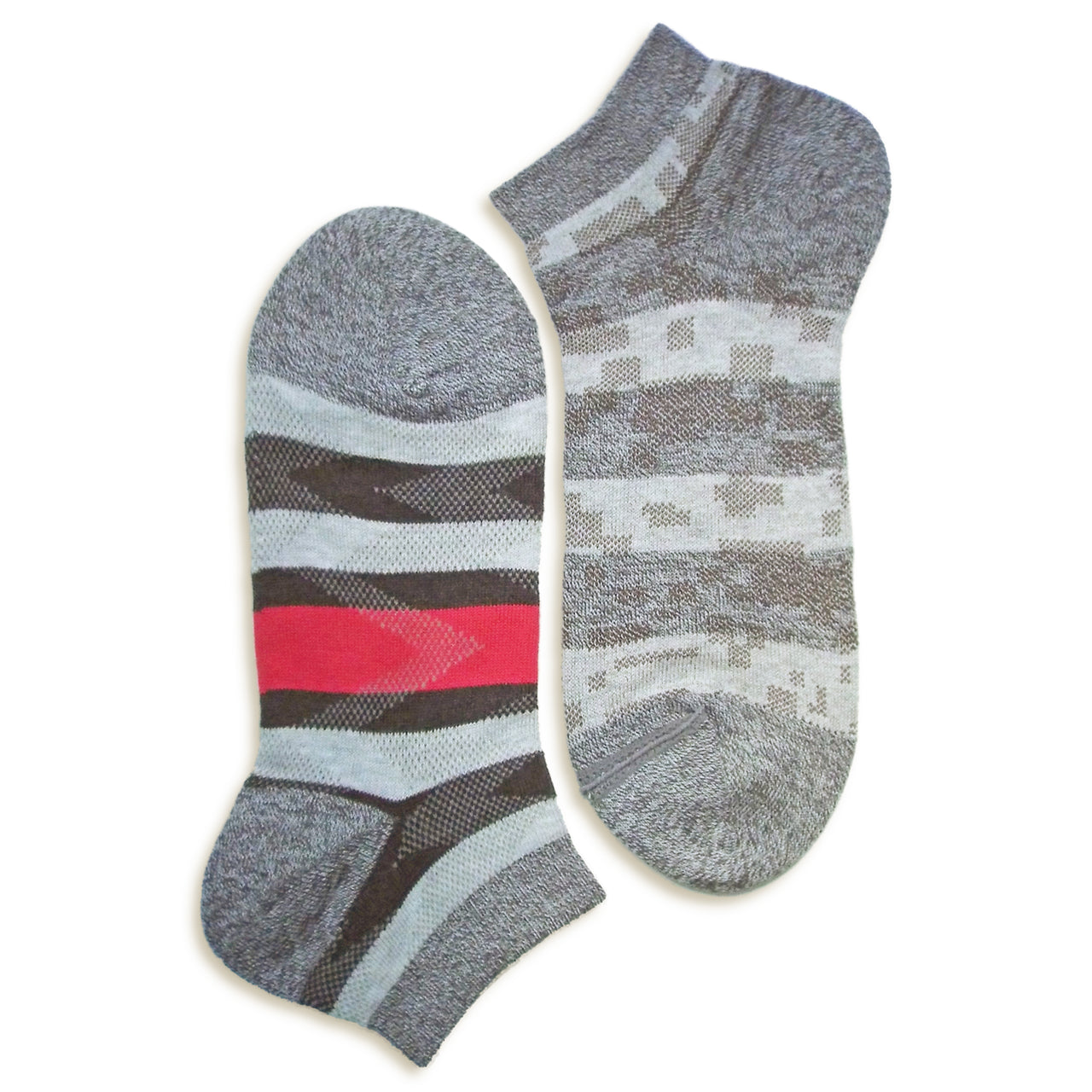 2 in 1 Reversible Socks | Striped Pattern | Grey - CHERRYSTONE