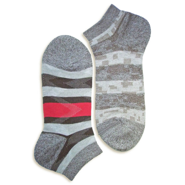 2 in 1 Reversible Socks | Striped Pattern | Grey - CHERRYSTONE by MARKET TO JAPAN LLC