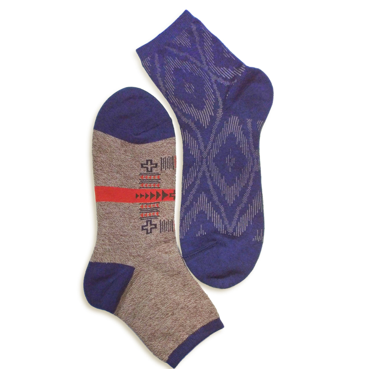 2 in 1 Reversible Socks | Tribal Pattern | Brown - CHERRYSTONE