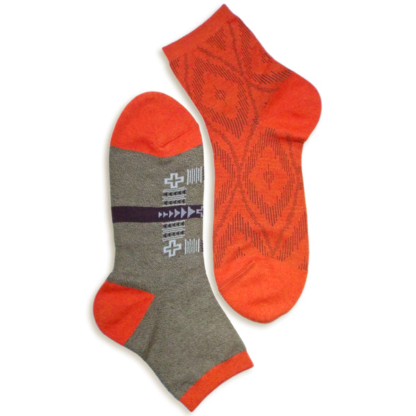2 in 1 Reversible Socks | Tribal Pattern | Khaki - CHERRYSTONE by MARKET TO JAPAN LLC
