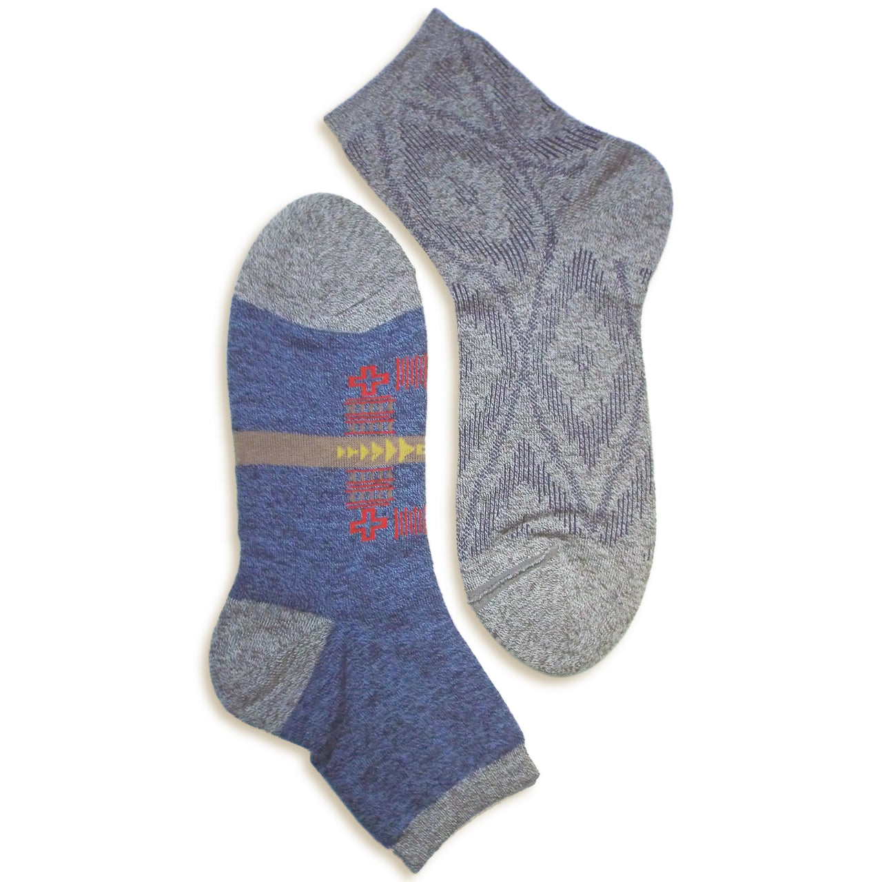 2 in 1 Reversible Socks | Tribal Pattern | Blue - CHERRYSTONE by MARKET TO JAPAN LLC