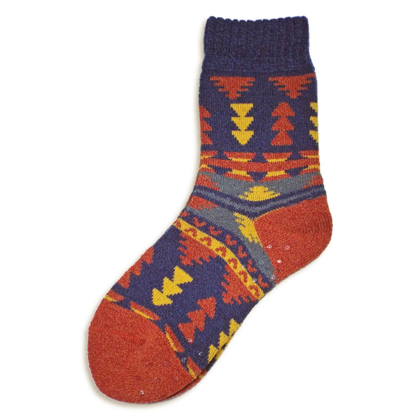 Tribal Crew Socks with Grips | Navy - CHERRYSTONE by MARKET TO JAPAN LLC