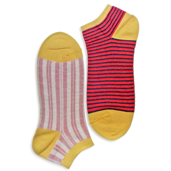2 in 1 Reversible Socks | Thin-striped Pattern | Yellow - CHERRYSTONE by MARKET TO JAPAN LLC