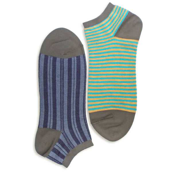 2 in 1 Reversible Socks | Thin-striped Pattern | Khaki - CHERRYSTONE by MARKET TO JAPAN LLC