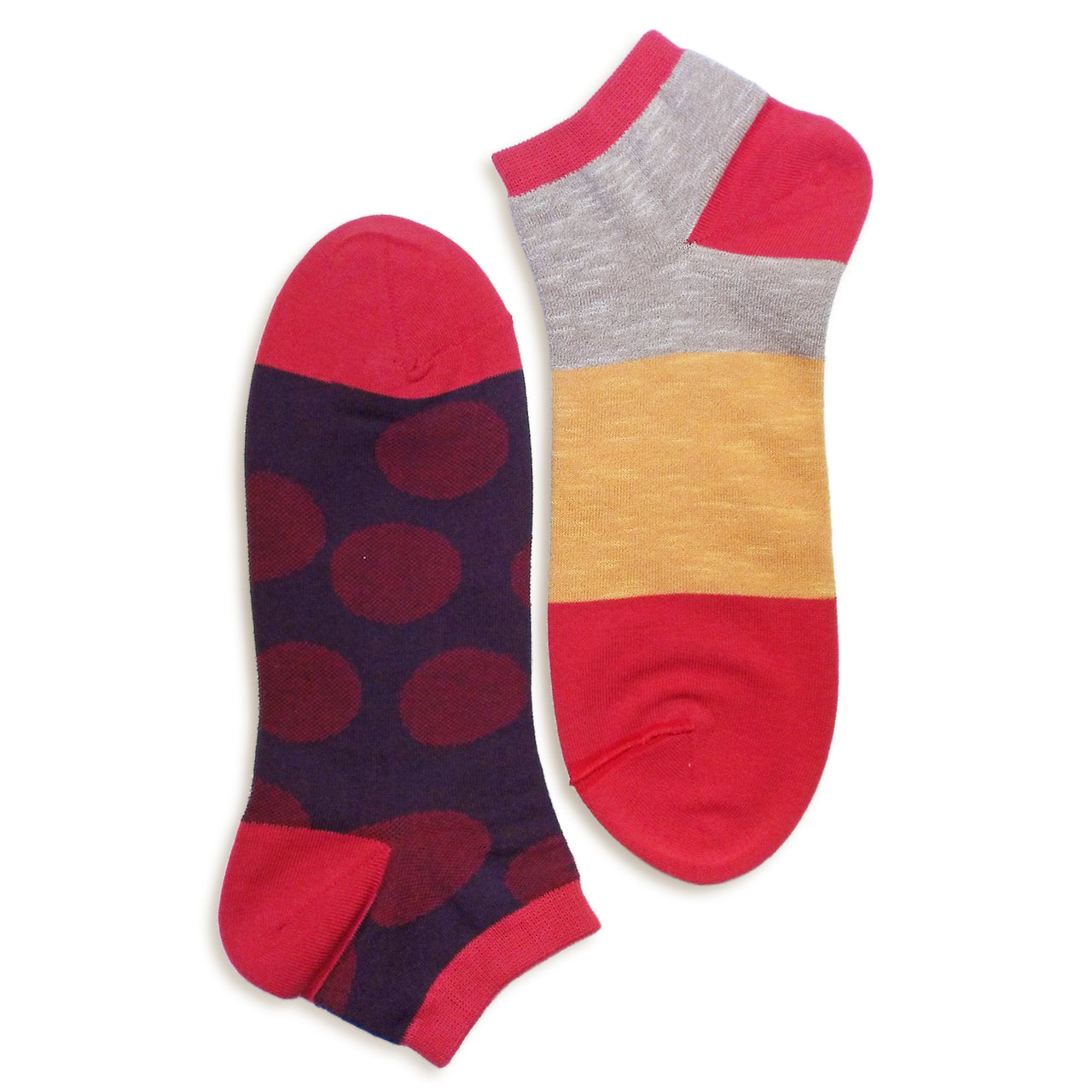 2 in 1 Reversible Socks | Polka Dot Pattern | Red - CHERRYSTONE