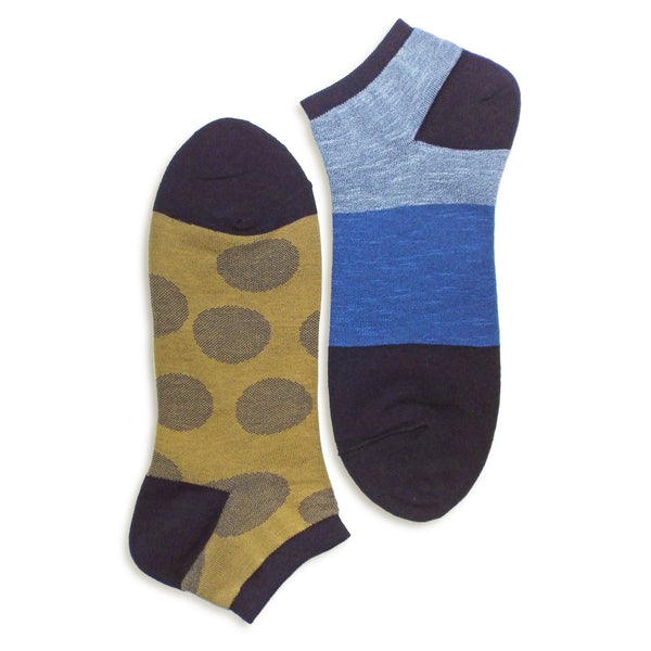 2 in 1 Reversible Socks | Polka Dot Pattern | Navy - CHERRYSTONE