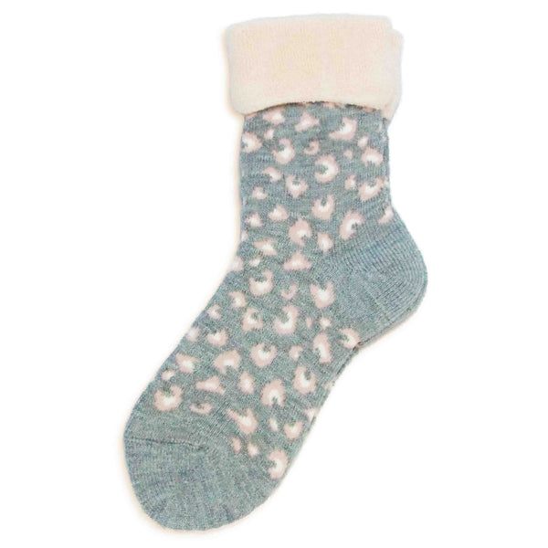 Wool Blended Socks | Chic Leopard | Gray - CHERRYSTONE