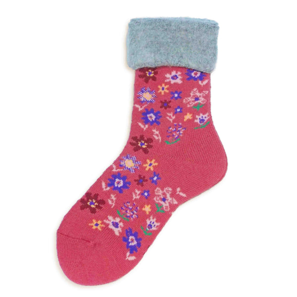 Wool Blended Boot Socks | Fun Floral | Fuchsia - CHERRYSTONE