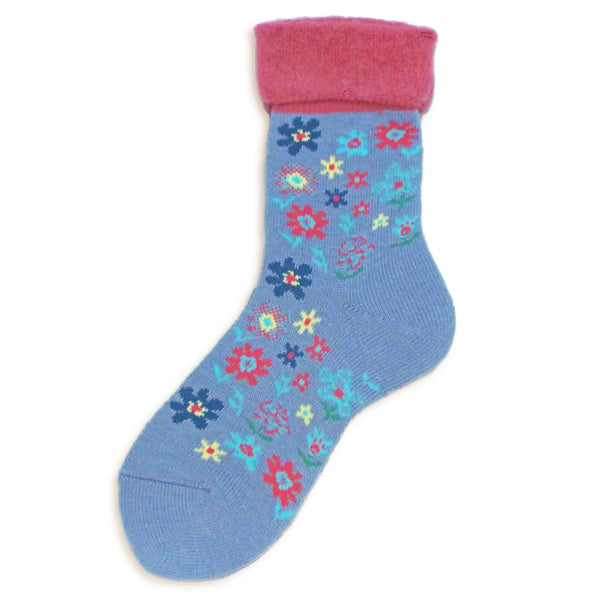 Wool Blended Boot Socks | Fun Floral | Blue - CHERRYSTONE