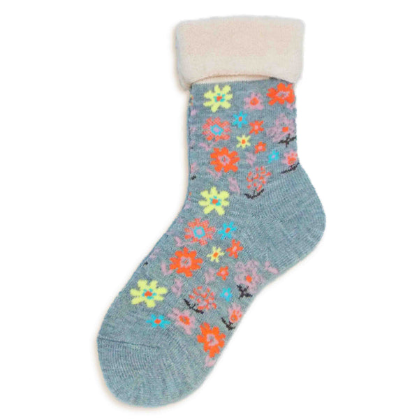 Wool Blended Boot Socks | Fun Floral | Gray - CHERRYSTONE