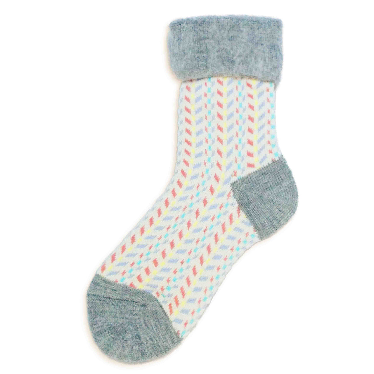 Wool Blended Boot Socks | Chevron | Taupe - CHERRYSTONE
