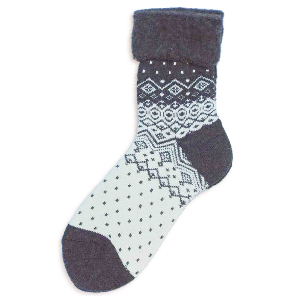 Wool Blended Boot Socks | Nordic | Black - CHERRYSTONE