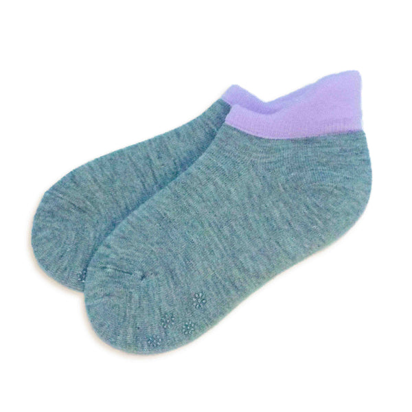 Wool Blend Athletic-look Slipper Socks with Grips | Gray - CHERRYSTONE