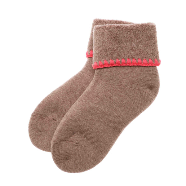 CHERRYSTONE® Cuff Socks NO GRIPS | Turn Cuff | Mocha - CHERRYSTONE by MARKET TO JAPAN LLC
