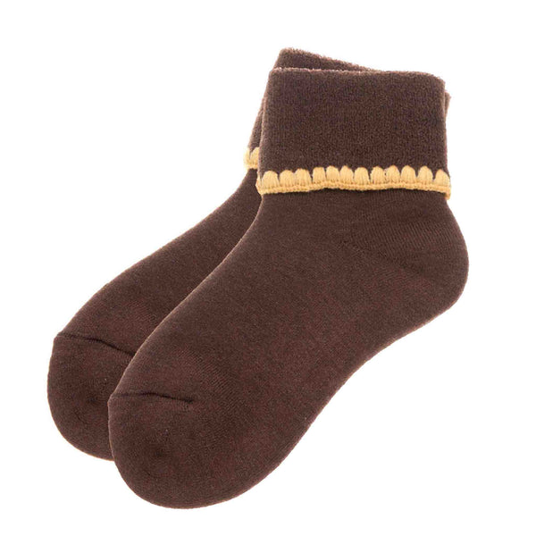CHERRYSTONE® Cuff Socks NO GRIPS | Turn Cuff | Brown - CHERRYSTONE by MARKET TO JAPAN LLC