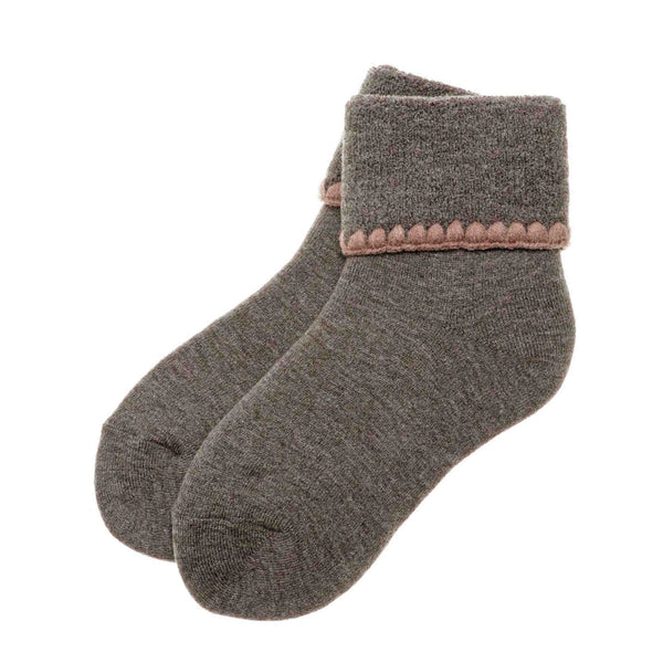 Hamaguri Slipper Socks | Turn Cuff | Grey - CHERRYSTONE