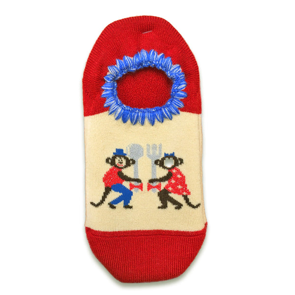 CHERRYSTONE Slipper Socks | Animal Designs | Monkey | Red - CHERRYSTONE