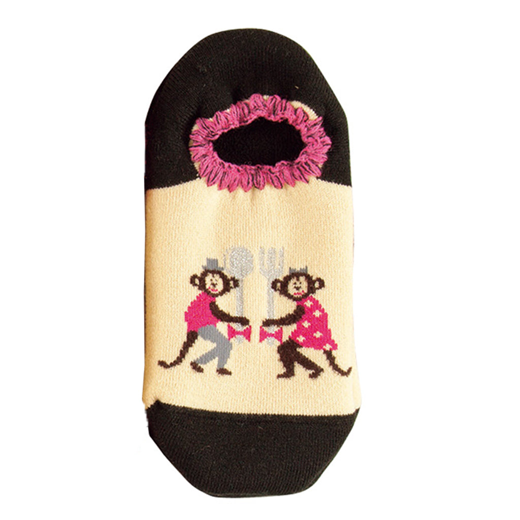 CHERRYSTONE® Slipper Socks | Animal Designs | Monkey | Black - CHERRYSTONE