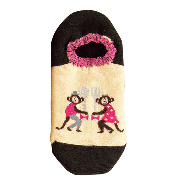 CHERRYSTONE Slipper Socks | Animal Designs | Monkey | Black - CHERRYSTONE