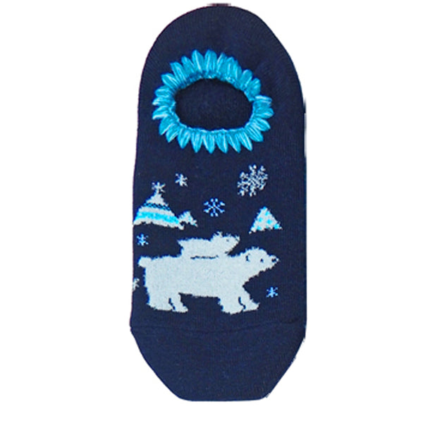 CHERRYSTONE Slipper Socks | Animal Designs | Polar Bear Family | Navy - CHERRYSTONE