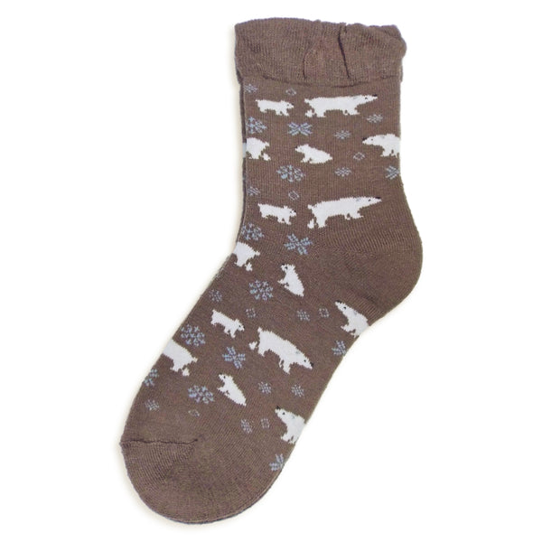 Pile Knit Animal Crew Socks | Polar Bear | Brown - CHERRYSTONE