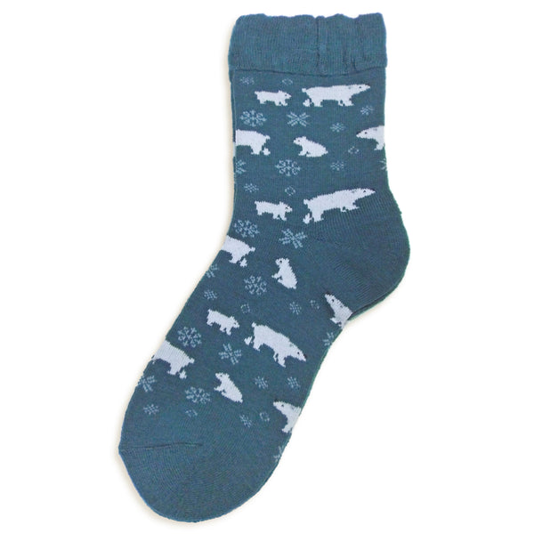 Soft Knit Animal Crew Socks | Polar Bear | Teal - CHERRYSTONE by MARKET TO JAPAN LLC