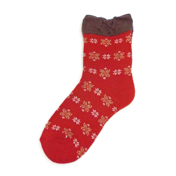 Soft Knit Crew Socks | Snowflake | Red