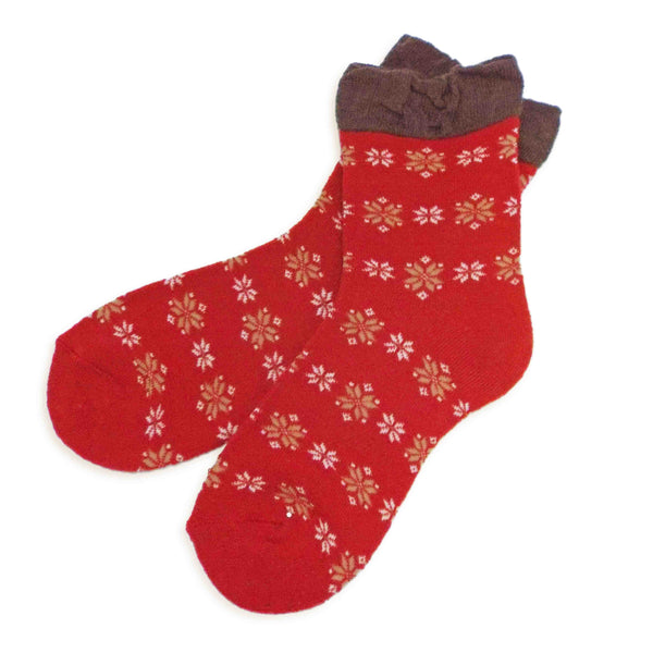 Soft Knit Crew Socks | Snowflake | Red - CHERRYSTONE by MARKET TO JAPAN LLC